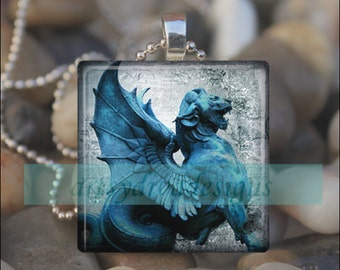 STONE GARGOYLE STATUE Gothic Dragon Chupacabra Halloween Glass Tile Pendant Necklace Keyring