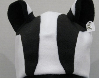 Badger Ear Hat - BLACK & WHITE