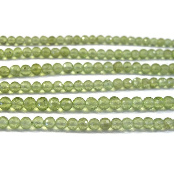 Natural Peridot Beads, Round Faceted Gemstones, Green Gemstones, August Birthstone, 4mm, 8 Inch Strand, August Birthstone