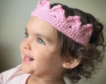 Flower or Crown Headband, Tie Back, Flower Crown, Crown, Princess Crown, Baby Headband, Toddler Headband