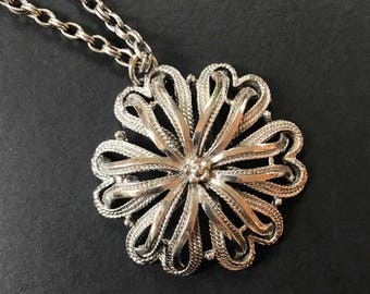 1970's Floral Statement Pendant Necklace