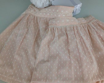 Mother daughter skirts pair of cotton and lace nude. Mother skirt