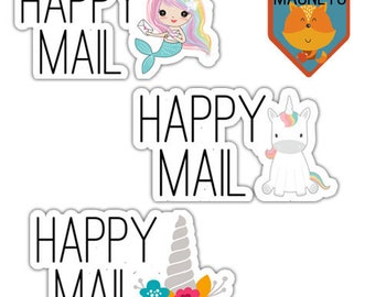 Happy Mail Stickers, Set of 5, Package Stickers, Fun Mail, Stickers, 3 Design Options