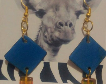 Bright blue torch fired enamel earrings