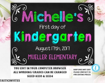 first day of school sign back to school printable chalkboard poster first day of sign template instant download first day sign edit