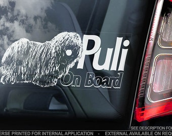 Puli on Board - Car Window Sticker - Hungarian Dog Sign Decal - V01