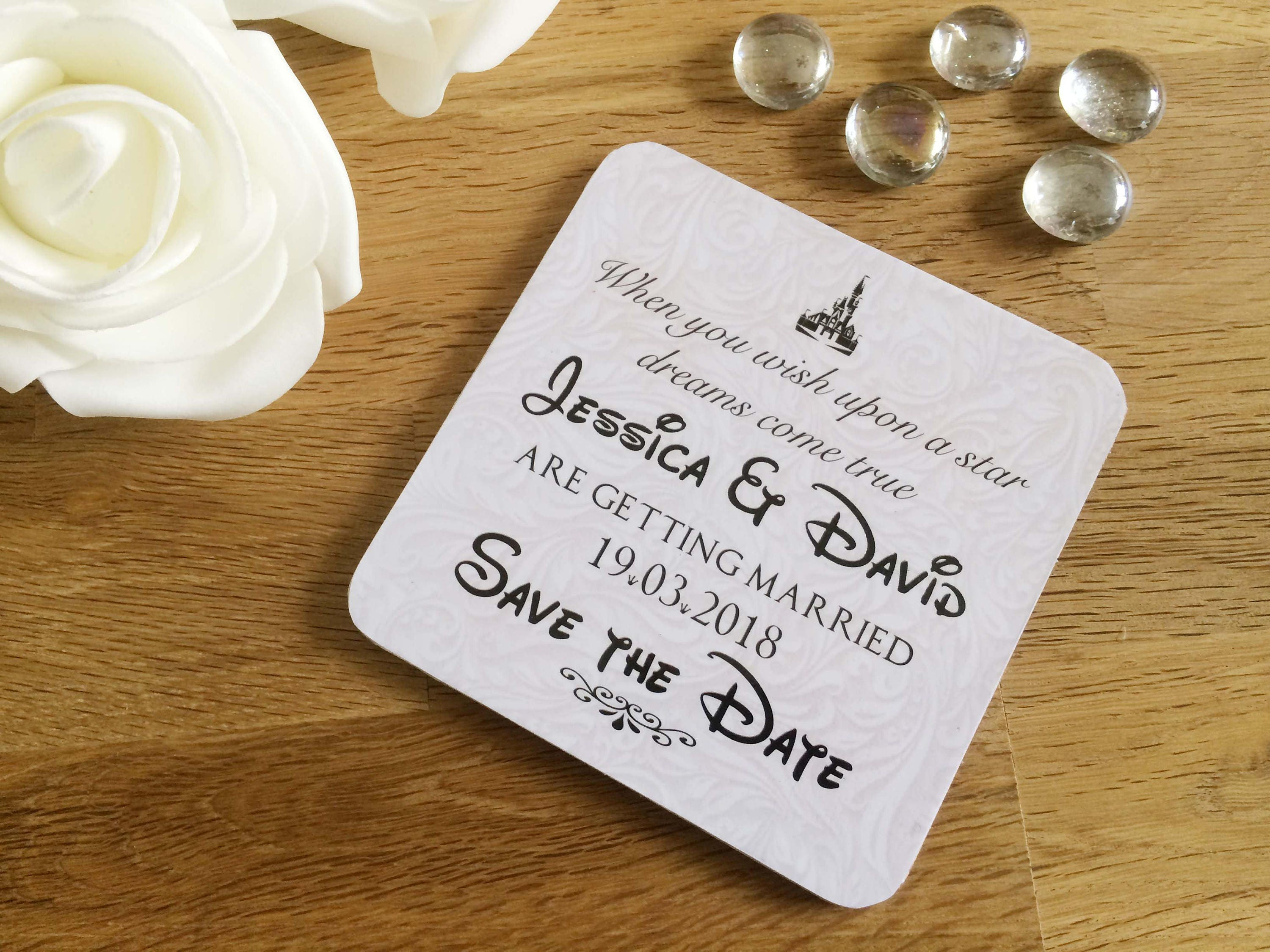 Disney themed Save the Date Coasters