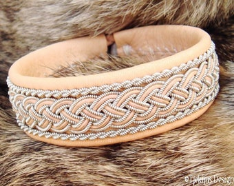 Custom Handmade Natural Sami Viking Bracelet Cuff GIMLE Scandinavian Pewter and Leather Bangle for Men and Women