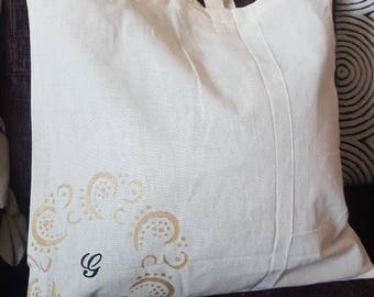 Personalised Initial Natural Cotton Tote Shopping Bag With Handmade Black Gold Stencil Design Reusable Eco Friendly Shopper Farmers Market