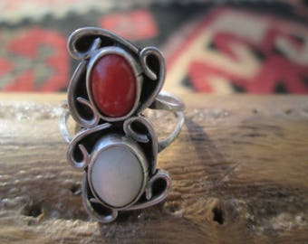 Native American Coral, Mother of Pearl and Sterling Silver Ring Size 5