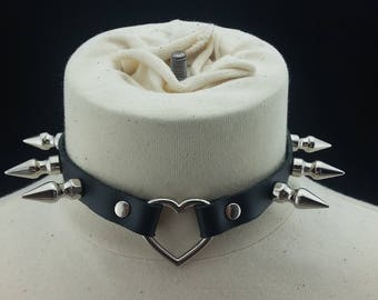 Choker Genuine Leather - Choker Collar Black Leather Choker with Silver Heart Ring and Long Spikes
