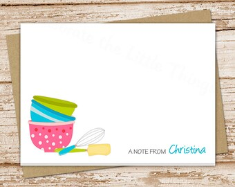 personalized baking note card .baker, chef . folded personalized stationery stationary . bowls whisk spatula . set of 8