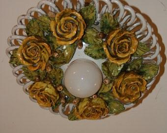 Ceramic Chandelier with Roses * Lampadario in ceramica con rose modellate