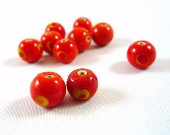 10 yellow polka dots, 8mm, (pv62) orange glass beads
