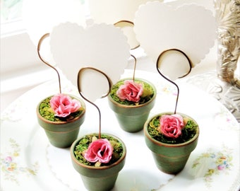 Wedding TABLE NUMBER HOLDER Wire Photo Holders Display Cute Miniature Flower Pot Picture Holders Sign Holders Rustic Stand Place Card Holder