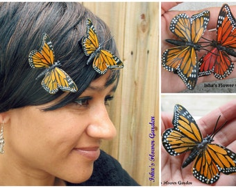 Monarch butterfly hair clip, butterfly accessories, butterfly barrette, monarch barrette, monarch clip