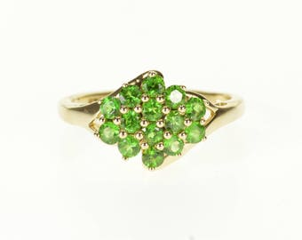 14k Emerald* Encrusted Cluster Ball Detail Ring Gold