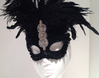 Black Feather Masquerade Mask -Masked ball- Black Mask -Deco mask- Halloween - Mask- Masquerade Mask- Masked ball- Mardi Gras -Womens mask