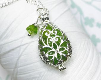 Worry Locket - peridot teardrop locket / locket necklace / silver locket / peridot locket  / peridot necklace / living locket