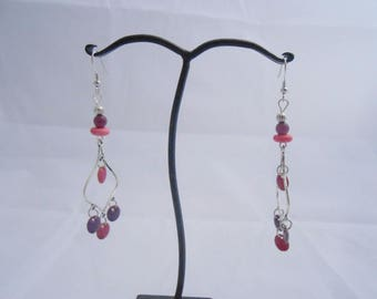 Earrings purple and pink sequins