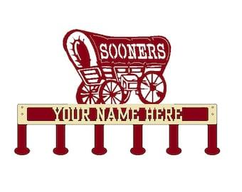 Sooner Schooner Coat/Hat Rack with Personalized Text (B46)