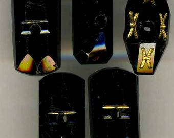Antique Black Glass Whistle Buttons, Group of 5