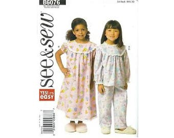 See & Sew Pattern 6076, children's top, gown, and pants