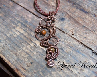Wire dream catcher necklace pendant with tiger's eye -Dream Sequence - necklace charm for men / women