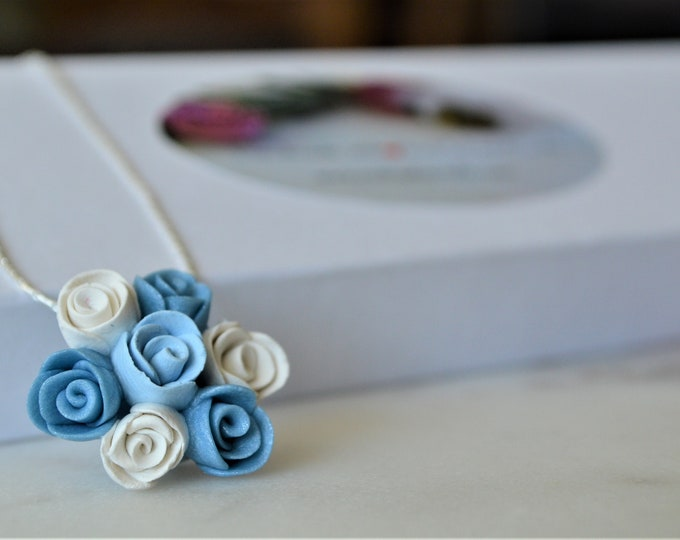 Handmade romantic jewelry, Wedding jewelry,, Something blue something borrowed something new, Spring jewelry, Original gift for her, Roses