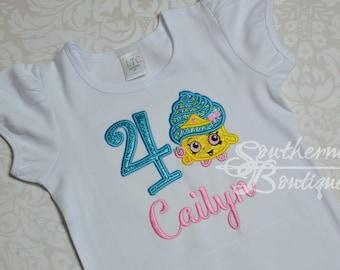 Shopkin Shirt, Shopkin Birthday, Girls Birthday Shirt, Shopkin Shirt, Shopkin gift, outfit, Shopkin with Name-Birthday Cake Shirt, cupcake