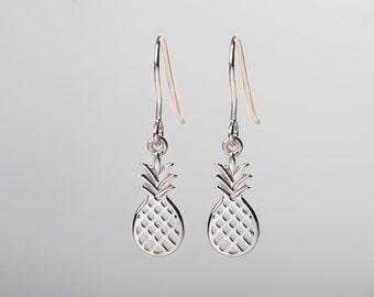 Pineapple Earrings, Dangle Earrings, Cute Earrings, Sterling Silver