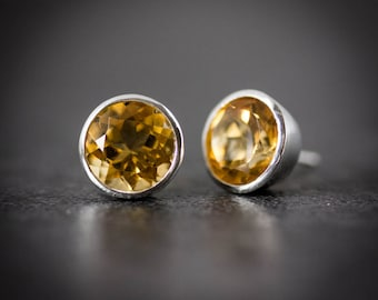 Huge Golden Citrine Gemstone Post Earrings, Bezel Set in Recycled Sterling Silver, Gemstone Studs, Yellow Gemstone Earrings, Large Studs