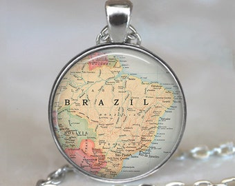 Brazil map pendant, Brazil pendant, Brazil map jewelry, Brazil necklacemap jewelry map jewellery travel gift key chain key ring key fob