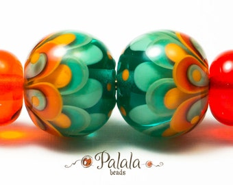 Pair of turquoise and tangerine Lampwork Glass Beads for earrings