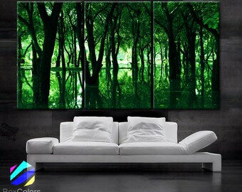 """LARGE 30""""x 60"""" 3 Panels Art Canvas Print Beautiful Trees lake green nature Wall Home office decor interior (Included framed 1.5"""" depth)"""
