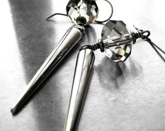 Silver Spike Earrings with Grey Crystal, Metallic Silver Dagger Earrings, Gray Crystal, Modern Goth Gothic Jewelry, Punk Rocker Earrings