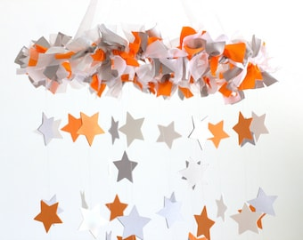 Orange Gray Nursery Mobile- Star Baby Mobile in Orange Gray & White- Neutral Nursery Decor, Baby Shower Gift, baby Mobile