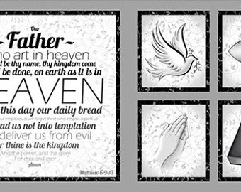 """One 24"""" x 43"""" Our Father Panel from Quilting Treasures"""