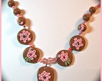 Embroidered Applique Style Statement Necklace Chocolate & Pink Floral Necklace 20 in. Polymer Clay Handcrafted Cruise Resort Summer Jewelry