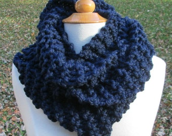 Plush Infinity Scarf Cowl in Dark Navy Blue