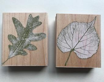 2 Hero Arts stamps, fall, leaf, leaf impressions,crafting, destashing, art set, scrapbooking
