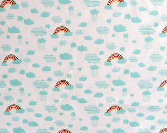 Fabric - Rico - Rainbow and clouds on white print - knit/jersey cotton