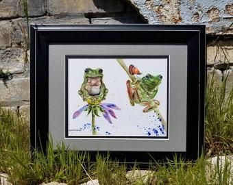 Frog watercolor Frog wall art print Frog decor nursery decor Frog animal art