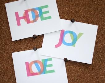 Set of 10 / Custom Colorful Joy Love Peace Hope Happy Remember Cards