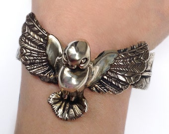 Bird Bracelet     cuff silver gold jewelry
