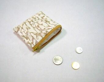 Shiny Khaki Zippered Coin Pouch