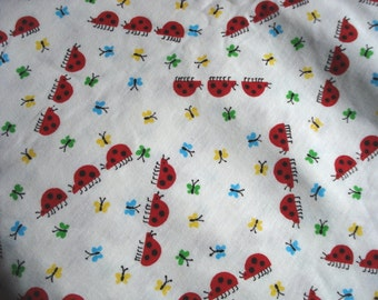 Ladybug Print Sweatshirt Weight Cotton Knit