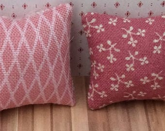 One Inch Scale Set of Mauve Print Pillows - 10
