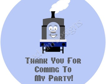 "Train Stickers - Sheet of 20 - 2"" round.  Train Birthday Party Favors.  2 Inch Round Train Stickers"