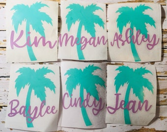Palm Tree name decal, Palm Tree monogram, Summer beach decal for cups, Summer party, Tumbler Decal